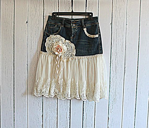 Upcycled Women's Jean Skirt / Romantic Shabby Clothing / Tattered Rose Lace Skirt on Etsy, $87.39