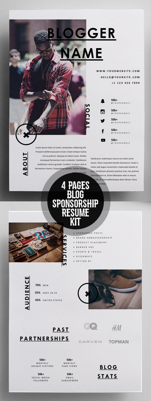 Creative 4 Pages Blog Sponsorship Kit Resume Template. Great, clean resume design! For more resume design inspirations click here: www.pinterest.com/sheppardaaron/-design-resumes/ Creative Resume Design, Resume Style, Resume Design, Curriculum Vitae, CV, Resume Template, Resumes, Resume Format
