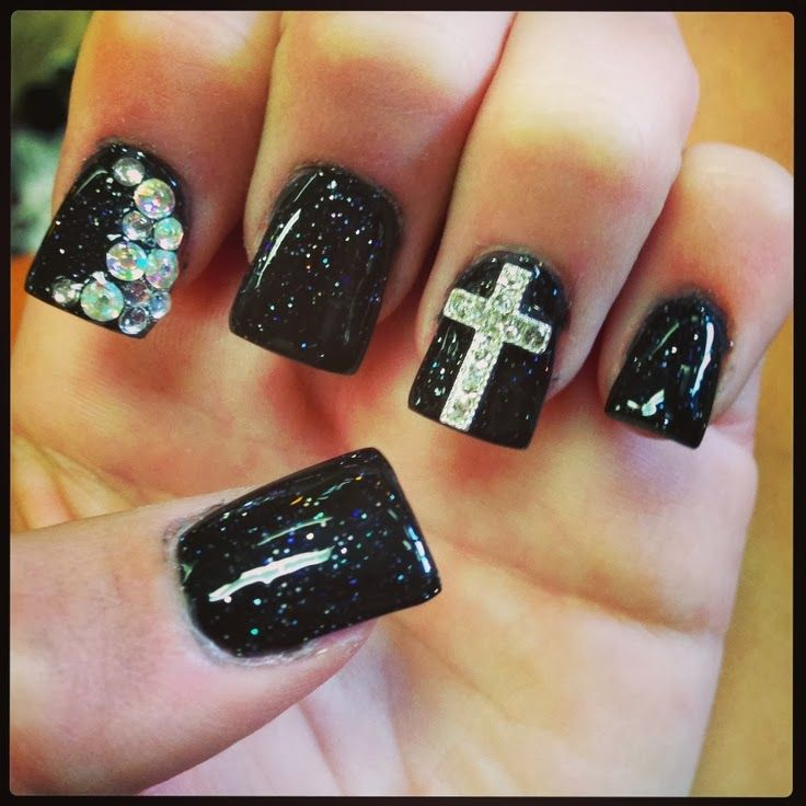 Black glitter nail design with rhinestones and cross - Best 25+ Nail Designs 2014 Ideas On Pinterest Pedicure Ideas