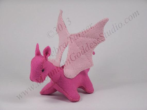 Miniature Pink Felt Dragon Toy