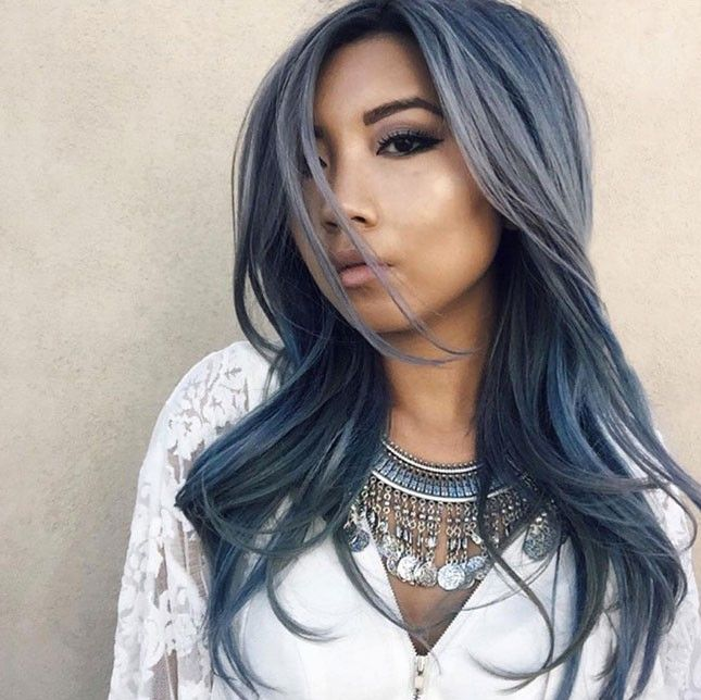 Show off your darker side with this sombre dark wash denim dyed hair color.