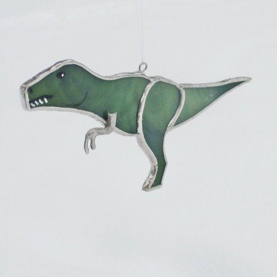 Tyrannosaurus Rex Stained Glass Christmas Ornament by FiveSparrows #trex #stainedglass #fivesparrowsglass #dinosaur