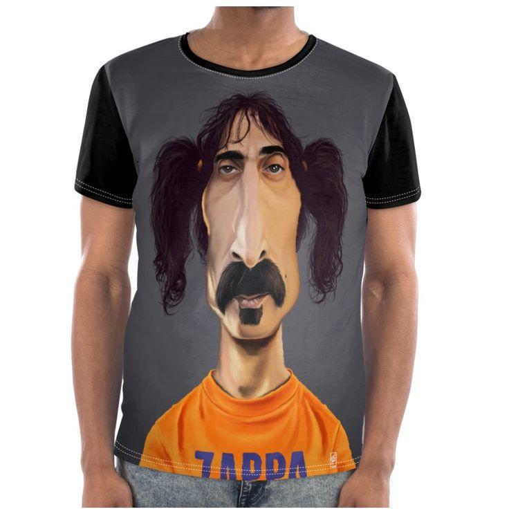 Frank Zappa Celebrity Caricature Cut and Sew T Shirt art   decor   wall art   inspiration   caricature   home decor   idea   humor   gifts