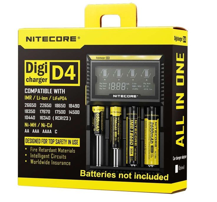 NiteCore Sysmax D4 Digital Charger - 4 Battery The NiteCore D4 is a universal, automatic smart-charger compatible with almost all types of rechargeable batteries thus eliminating the need to own several chargers.