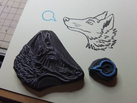 Wolf and word bubble stamp set by HandCarvedStamps on Etsy
