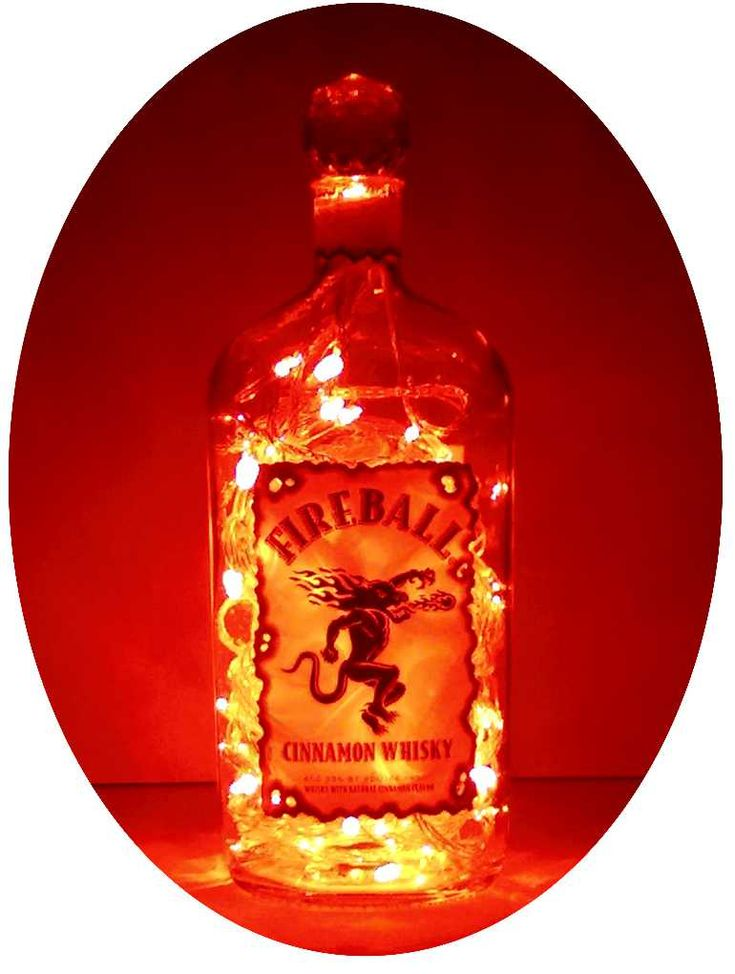 Upcycled Fireball Cinnamon Whisky Mood Therapy Liquor Bottle Light with Red LED's