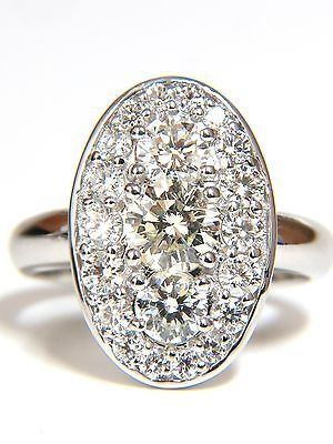 1.96CT CLUSTER DIAMONDS ELONGATED OVAL 18KT RING.