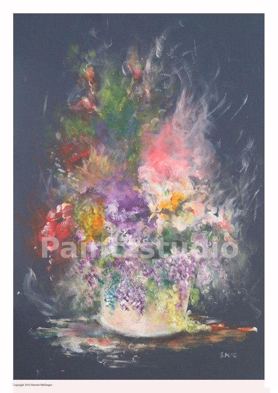 Flowers painting water colour still life stylized by Paintzstudio