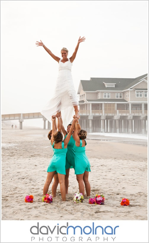 there will be a picture taken like this at my wedding #CheerProbsIdeas, Cheer Wedding, Cheer Stunts Photos, Bridesmaid Dresses, Wedding Day, Funny Beach Wedding Pictures, Cheerleading Wedding, High Schools Cheer Stunts, Beach Bridesmaid