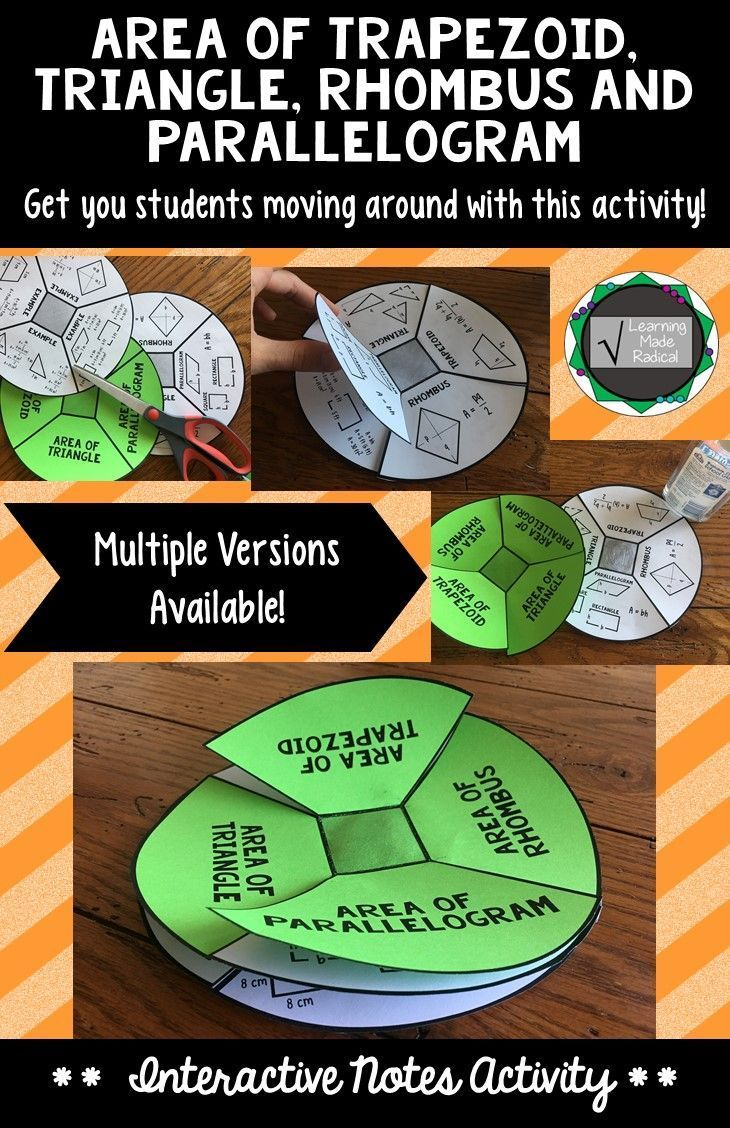 Area of Trapezoid, Triangle, Parallelogram and Rhombus Interactive Notes Activity   A fun and interactive way for students to take and memorize notes. Add a bright card stock color for the first page and notes will not get lost in that crazy folder :) The