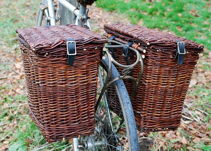 The Mistress bicycle basket panniers    http://www.willowbasketmaker.com/tag/pannier/