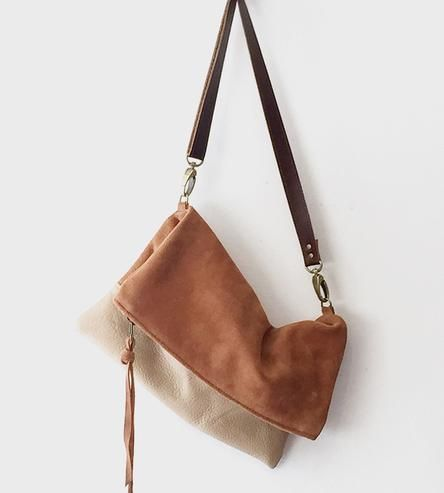 Convertible Suede Foldover Crossbody Bag by TCLA