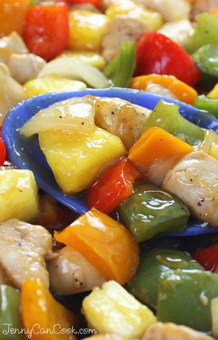 Sweet and Sour Chicken Recipe from Jenny Jones (JennyCanCook.com) Fresh pineapple makes all the difference. #jennyjones #sweetsourchicken #chinesefood #pineapplechicken