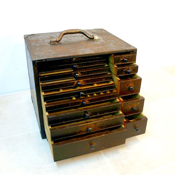 Antique Dental Tool Chest Box / Industrial by ConceptFurnishings, $275.00  Etsy.com