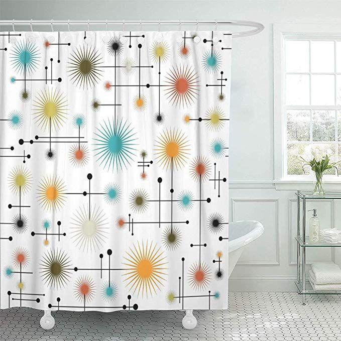 Amazon Com Semtomn Shower Curtain Star Retro Starbursts Go Mid