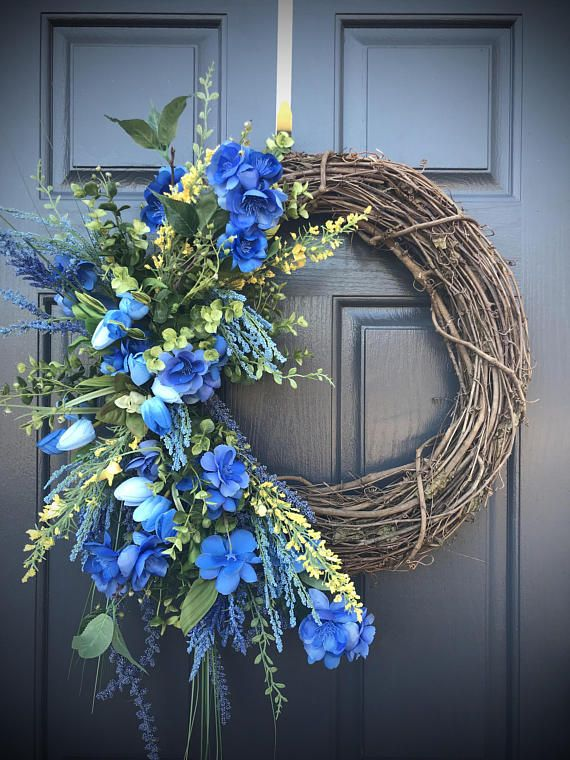 Blue Spring Wreaths Spring Door Wreaths Blue Wreaths Door Spring