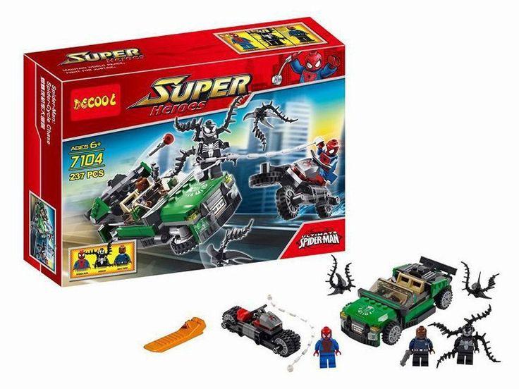 Decool 7104 мстители человек паук / яд / ник фьюри мини фигурки локомотив отслеживания вниз сцена строительный блок устанавливает игрушки