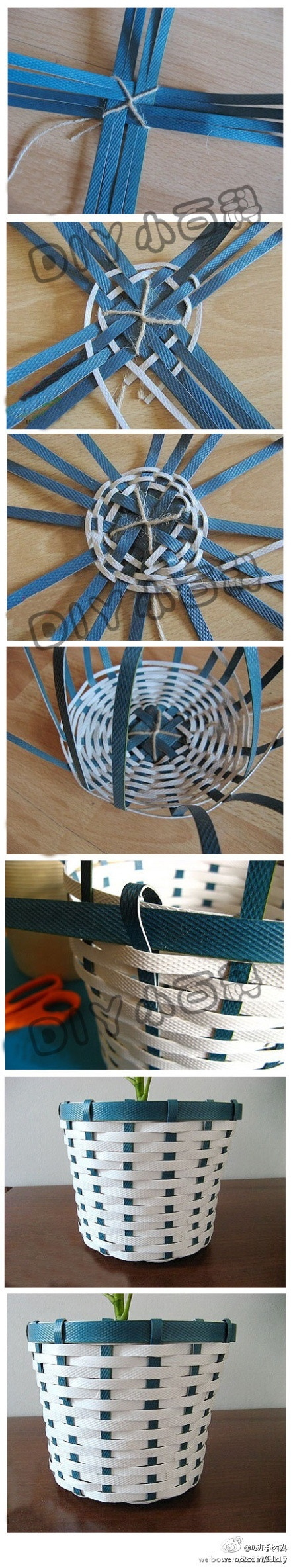 Basket made from quilling strips
