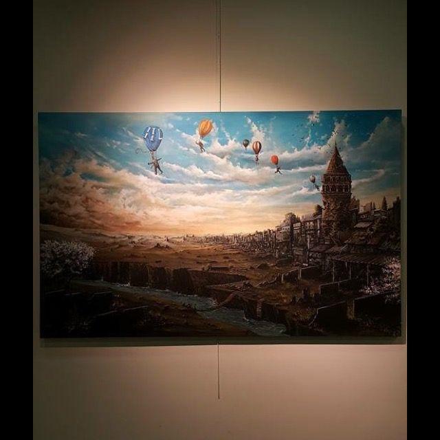 """Serdar Akkılıç """"İstanbul Kanatlarımın Altında"""" 100x160cm/acrylic on canvas/2015"""