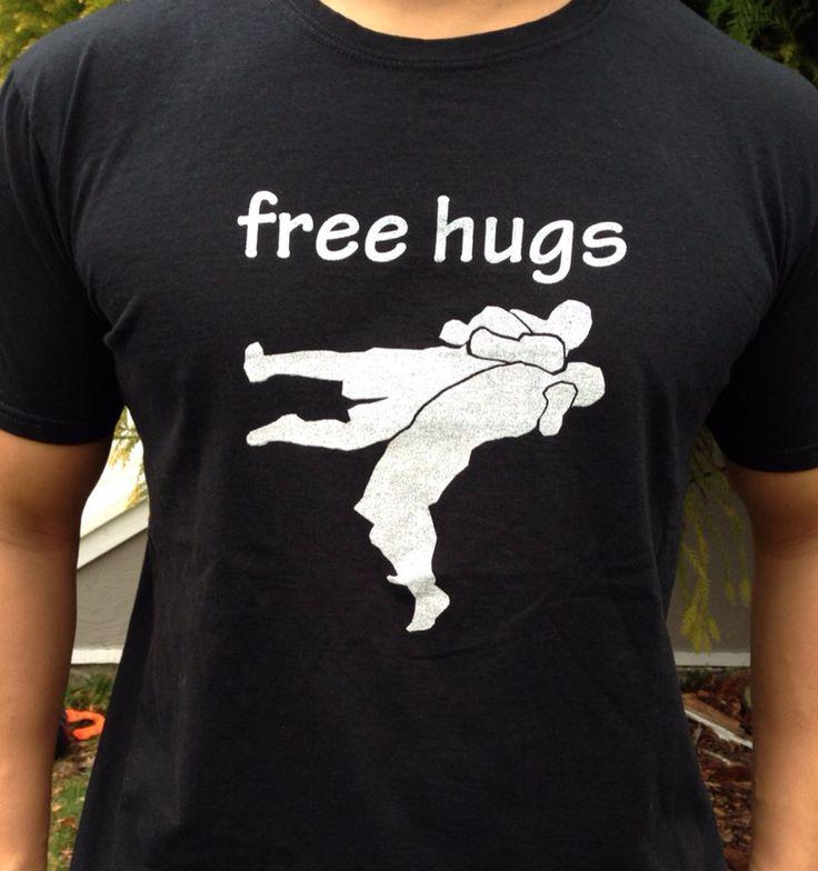 Free hugs t shirt mma wrestling jiu jitsu by BlueBeltBaby on Etsy, $12.00
