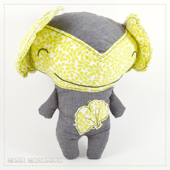 Smiley  Biloba  stuffed toy for children green by MariaMascarilha