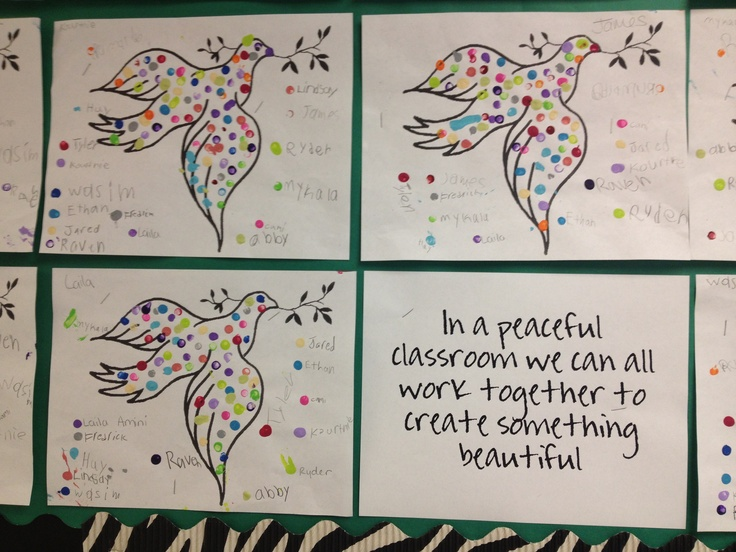 Doves for Peace. Kids worked together by adding dots to each others doves. Each student is their own paint color. The lesson was that we all have I work together for awesome things happen!