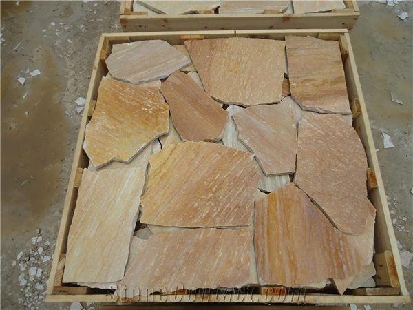 Flagstone Polygonal Tiles Saw Cut Hand Cut Yellow Quartzite Flagstone