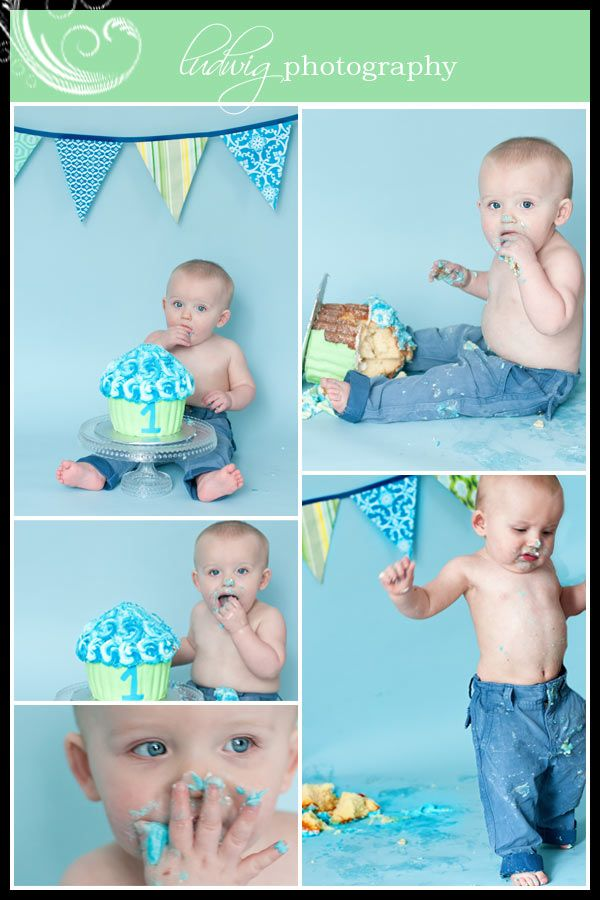 Giant cupcake, shirtless with jeans--1st birthday shots