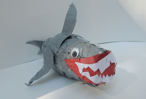 Shark Week Kids Craft: Duct Tape Paper Cup Shark from Naturally Educational