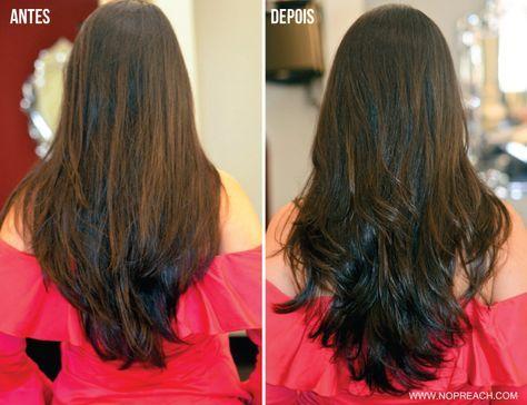 corte de cabelo longo - antes x depois - repicado camadas desfiado liso castanho escuro preto