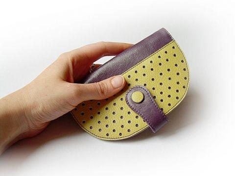 Pöttyös bőr pénztárca (padlizsánlila-zöldessárga) -100% bőr, Táska, Pénztárca, tok, tárca, Meska