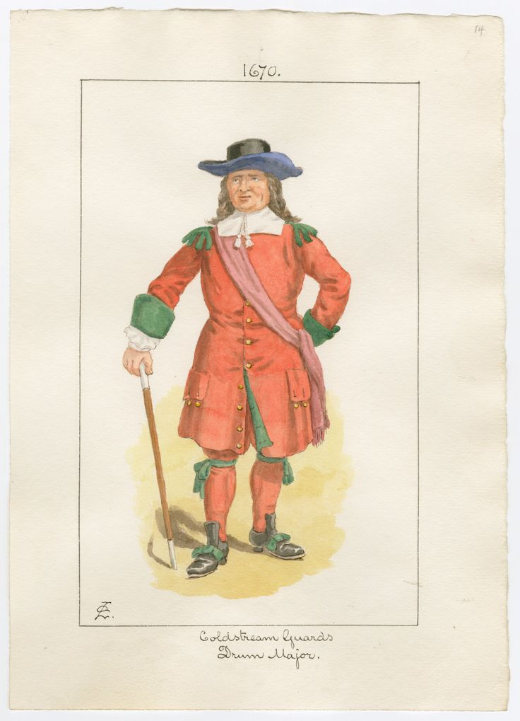 British; Coldstream Guards, Drum Major 1670 by Charles Lyall ...
