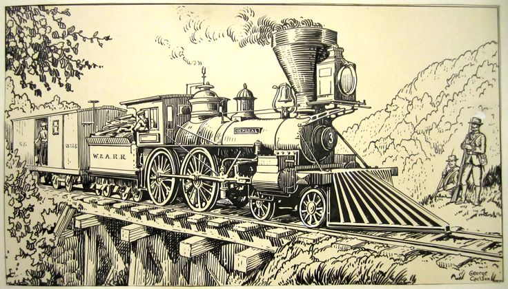 """Love this!!  Original art for a series of famous train portraits that ran in JOHN MARTIN'S BOOK. This one present's Carlson's stunning rendering of """"The General"""" from the classic 1926 Buster Keaton film of the same name. (from the collection of DANNY CEBALLOS)"""