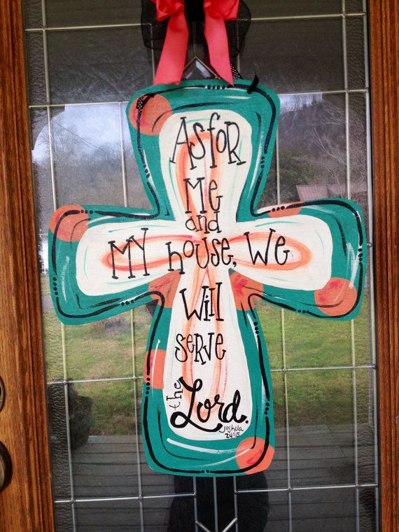 Wooden cross door hanger Hand painted Any by HillbillyHandcrafted