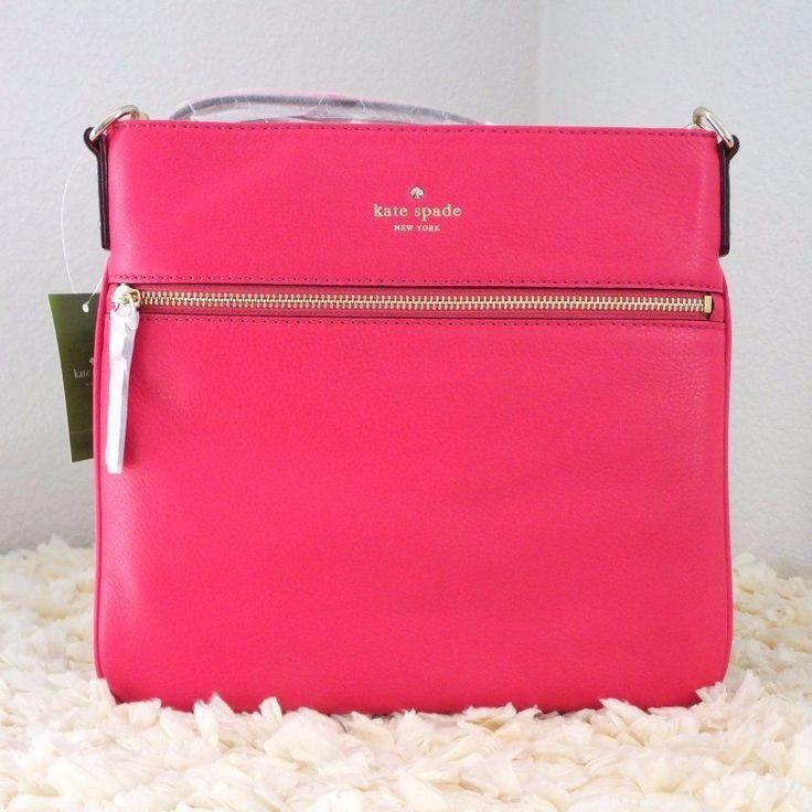 NWT Kate Spade Cobble Hill Ellen Leather Crossbody Messenger Handbag Deep Pink