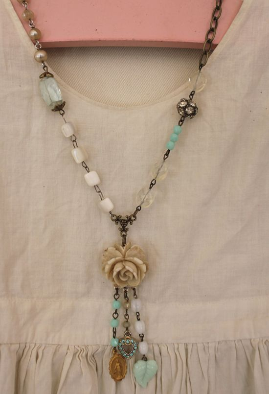 Made from vintage pieces  So pretty
