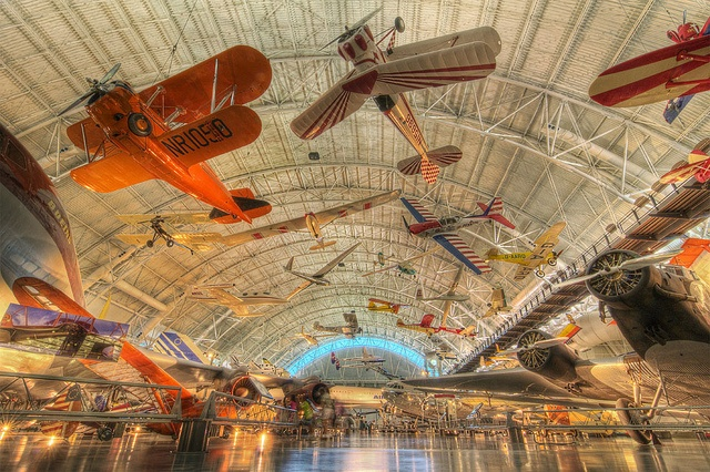 Inside the Smithsonian National Air and Space Museum's Steven F.  Udvar-Hazy Center.
