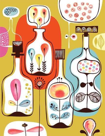 spirits in my bottle garden - limited edition giclee print of an original illustration (8.5 x 11 in) on Etsy, Sold