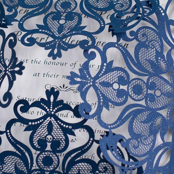 graceful navy blue laser cut wedding invitation EWWS030