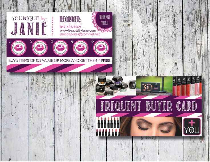 Younique punch card, Younique loyalty cards, Younique frequent buyer cards, Younique gift cards, Younique make up rewards card, Direct Sale by TheWrightInvite on Etsy