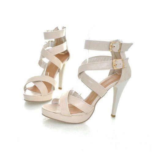 17 Sandales de gladiateur sandales à talons hauts pour les femmes plate   forme de talon gladiateurs pompes femmes Beige boucle talons chaussures pas cher 1 C0C dans Sandales pour femmes de Chaussures sur AliExpress.com | Alibaba Group