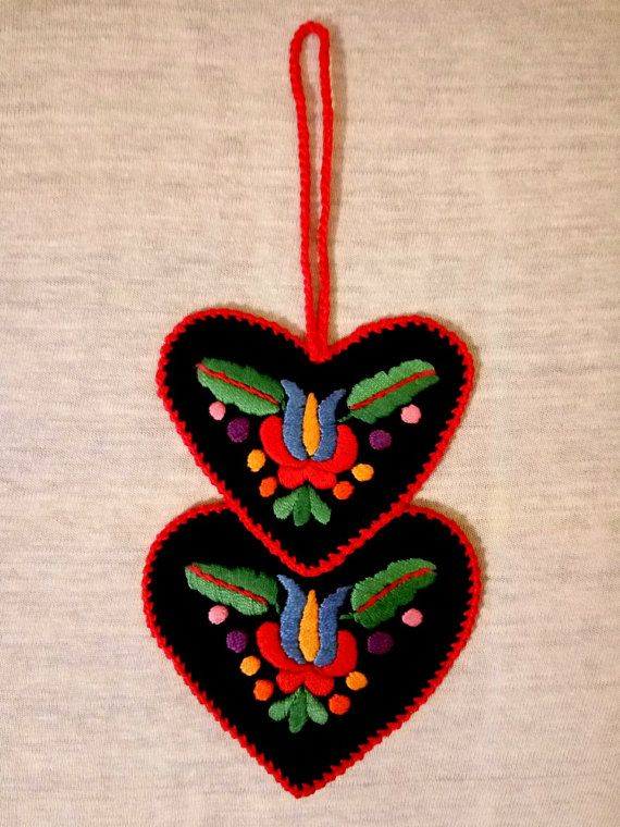 Double-heart-shaped hand-embroidered by EmbroideryOfHungary