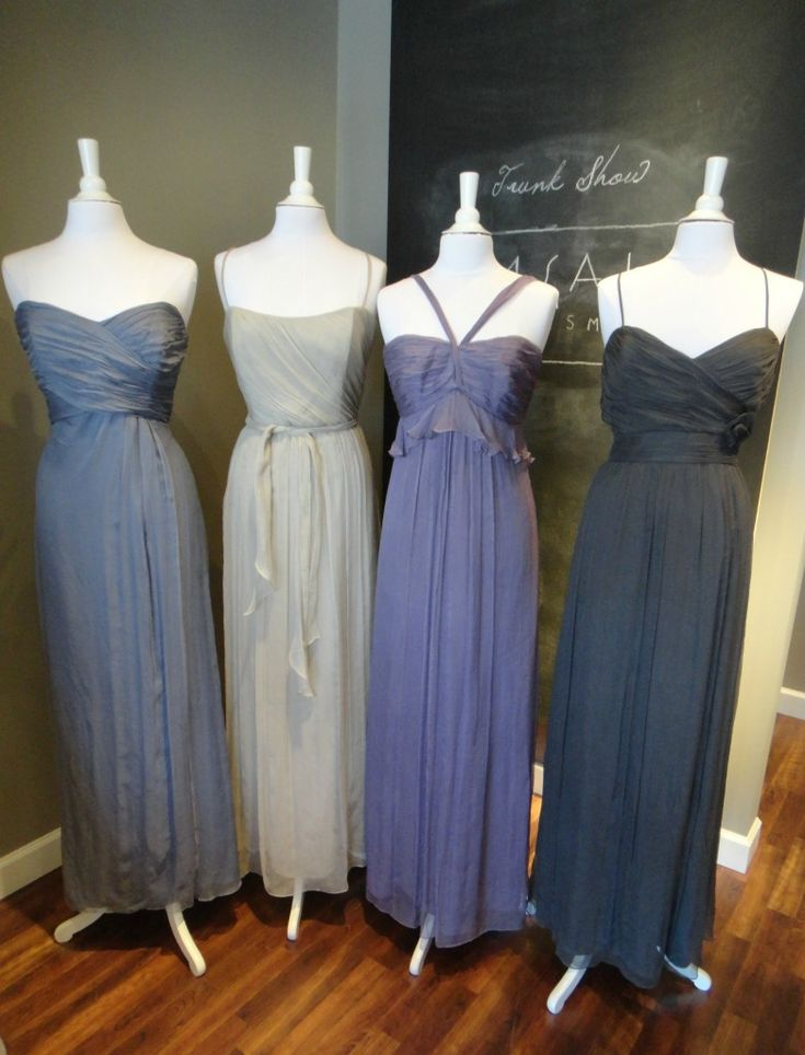 Ready or Knot {Wedding Chic} Bridesmaid Dress Color Combo - Muted Vintage from Amsale: Slate, Champagne, Violet, Charcoal