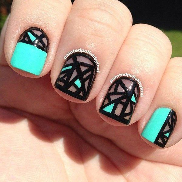 Strong and bold abstract nail art design. The strong black lines contrast perfectly with the neon sky blue polish making your nails simply pop out especially when under the sun.