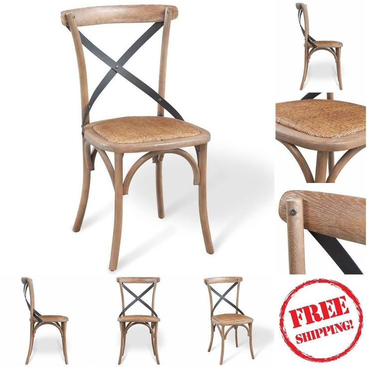Dining Room Oak Chair Parisian Bistro Style W Rustic Rattan Seat Home Kitchen Uk