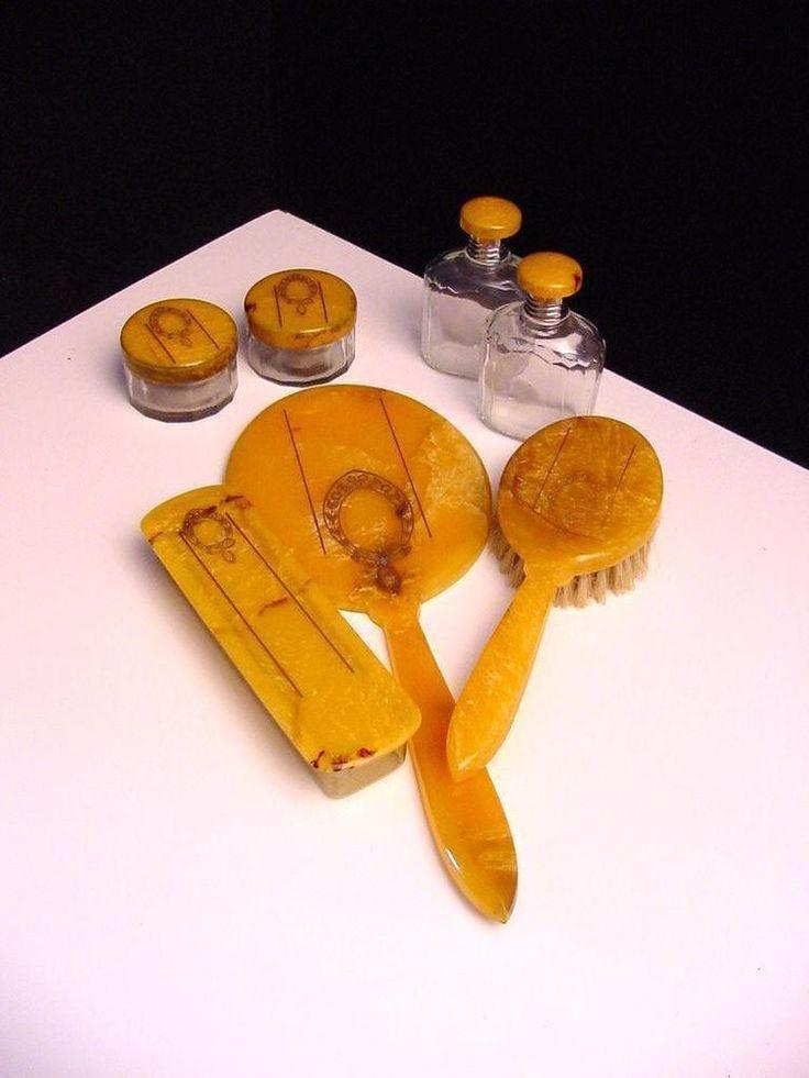 art deco 'faux amber' celluloid dressing set