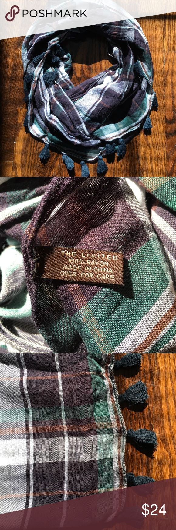 The Limited Plaid Tassle Scarf Deep purple, white, and dark green plaid rayon scarf with navy tassels. In excellent condition- no snags! The Limited Accessories Scarves & Wraps