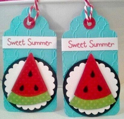 Summer Watermelon Tags handmade Sweet Summer Thank You You're Sweet Summer Fun for your summer scrapbook embellishment