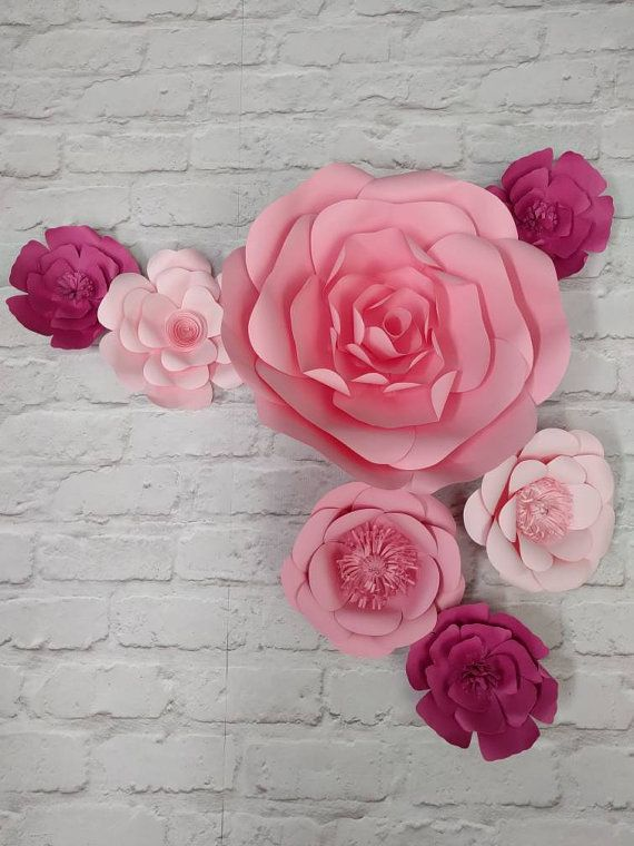 7 fleurs en papier rose géant 15-40cm diamètre en par SillyJokes