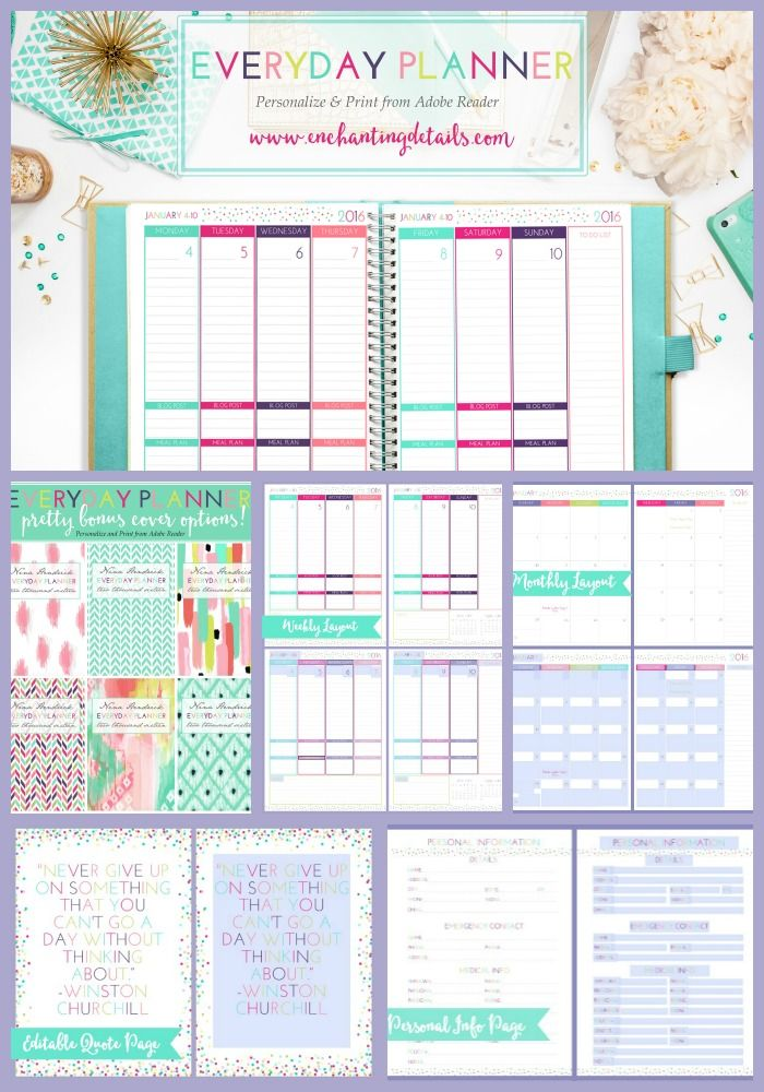 The Everyday Planner | Enter in your information and special dates and print from Adobe Reader!